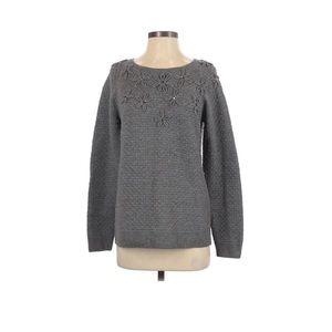 Talbots Gray Wool Sweater Merino Embroidered Flowe